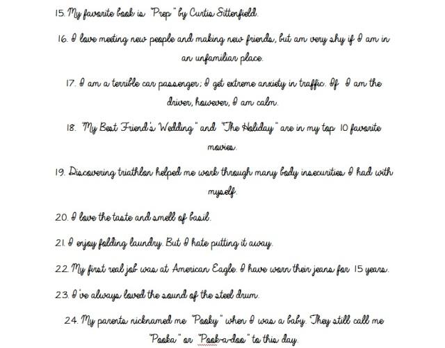 30 things 15-24